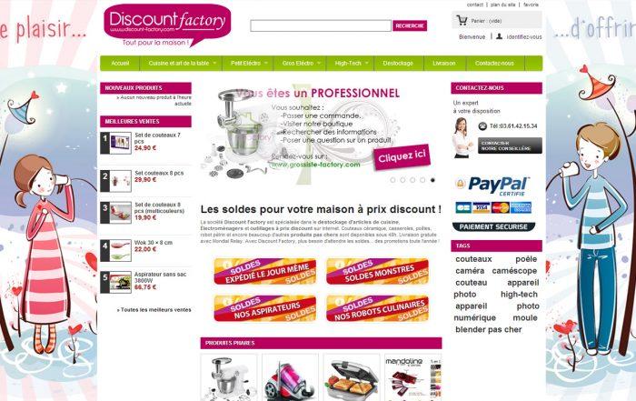Création site Internet Discount-factory - Développement sous Prestashop avec fonctionnalité spécifique