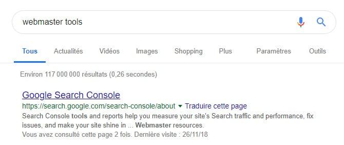 Etape 1 Google Search Console