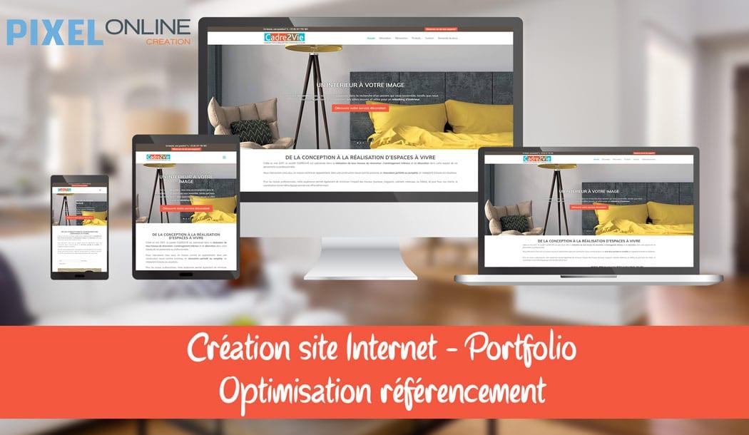 Création du site Internet vitrine, portfolio et référencement : Cadre2Vie